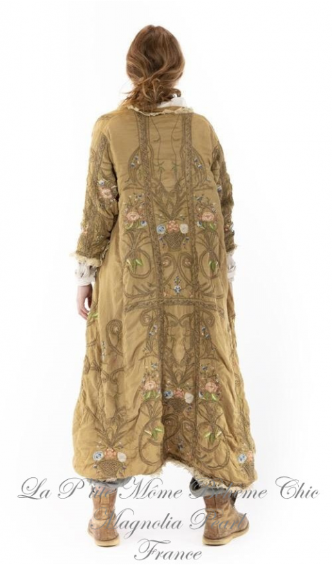 Embroidered OLeary  Coat In Baltic Amber, Lace Placket & Embroideries