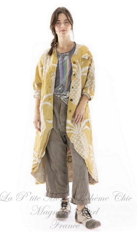 Emery Raw Heavy Linen Coat With Hand Mending & Patching In Bone