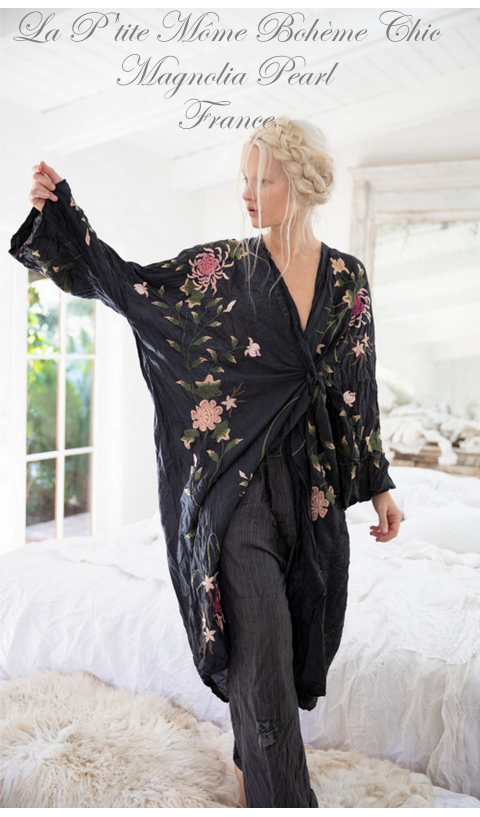 Embroidered Bonita Kimono, So Beautiful In Midnight