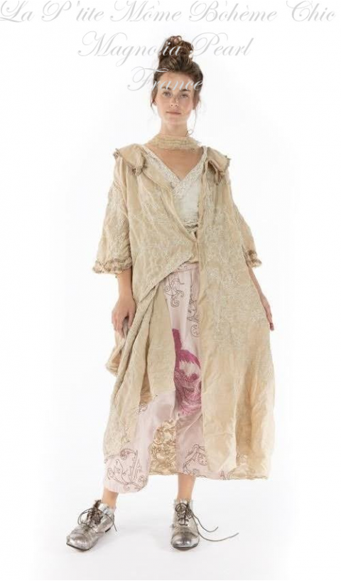 Emmali  Kimono Embroidered In Papyrus With Lace Details
