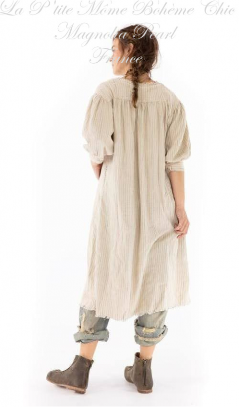 Bibby Dress with Pleated Neck Placket In Woven Cotton In Little Shell