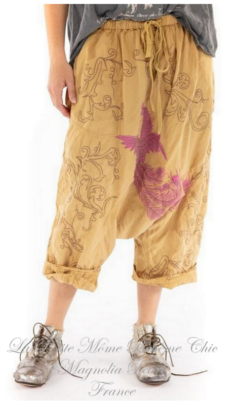 Garcon Pants with Dragon Embroidery In Marigold