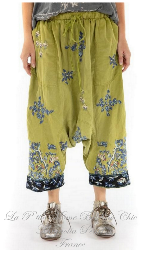 Isabeau Garcon Pants with Embroidery In Agave