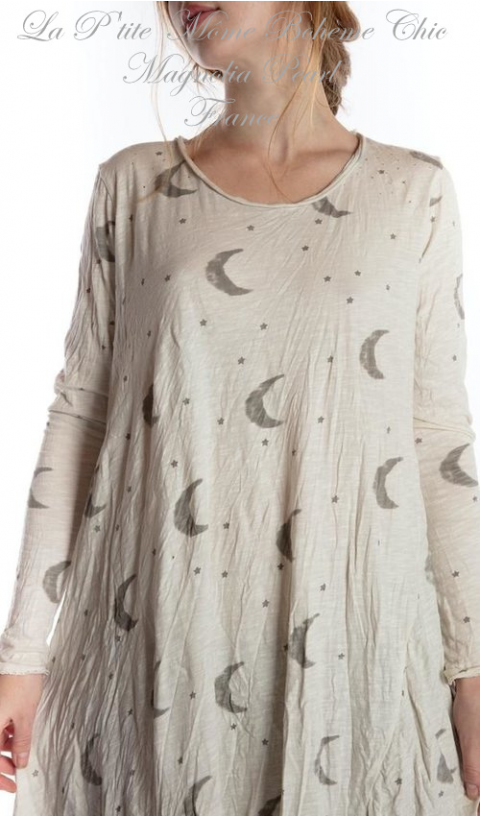 Crescent Moon and Stars Dylan T Dress Cotton Jersey