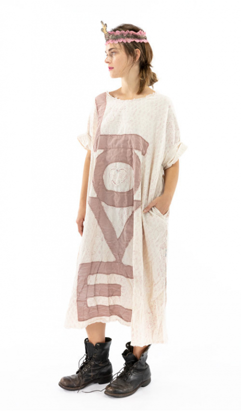 Evolve Artist Smock Dress with Pockets, Raw Neck and Edges