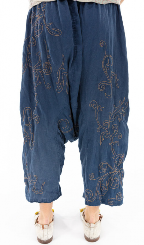 Dragon Garcon Pants with Embroidery In Indigo