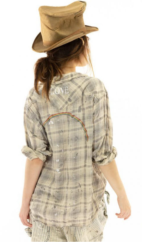 Kelly Western Shirt In Jenny with Fading, Distressing and Paint