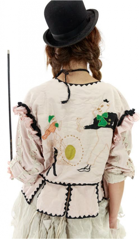 Binky Jacket In Candy Embroideries Applique & Hand Printed Lining