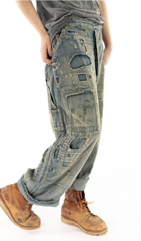 Sanforized Denim Jeans, Hand Aging & Patches