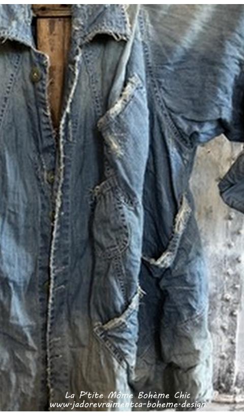 Aelvoet Workwear Jacket In Washed Indigo Many Pockets