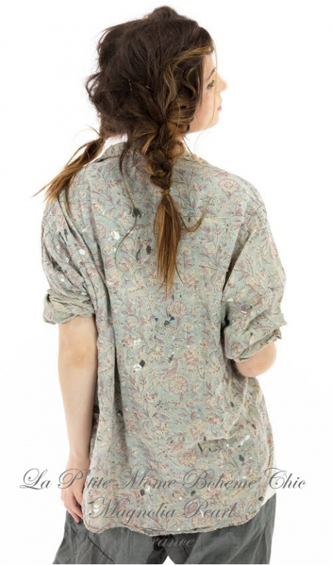 Kelly Western Shirt In Rambha with Fading, Distressing and Paint