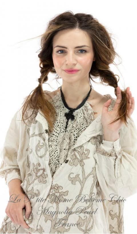 LEOLA embroidered smock coat +tattered lace In Moonlight Broderies et Dentelle