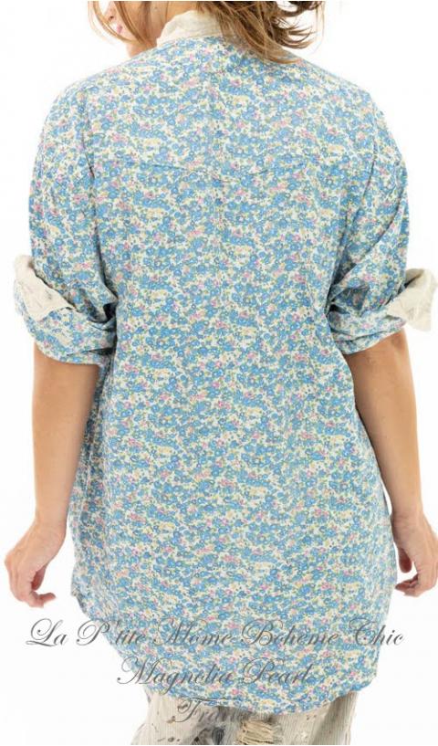 Boyfriend Shirt with Poplin Collar In Blue Bird