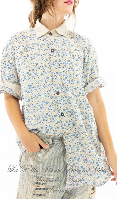 Boyfriend Shirt with Poplin Collar In Bluebella