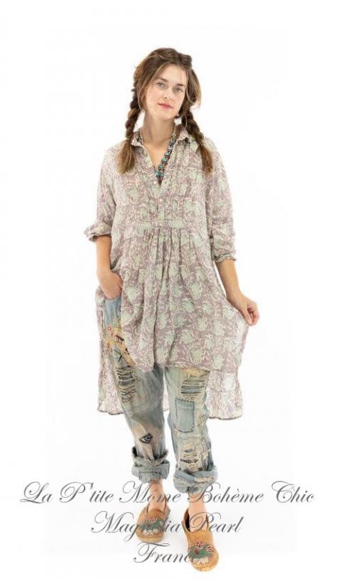 Cordelia Night-Shirt, Robe En Coton Gaze Imprimé, Une Merveille