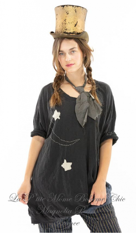 Francis T In Midnight with Hand Stitched Moon and Star Applique Details