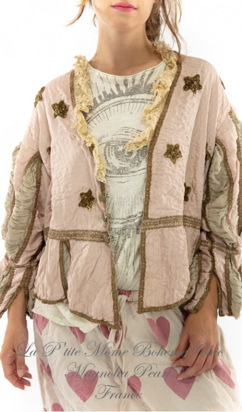 Quilted Monique Jacket In Peony With Hand Sewn Sequins