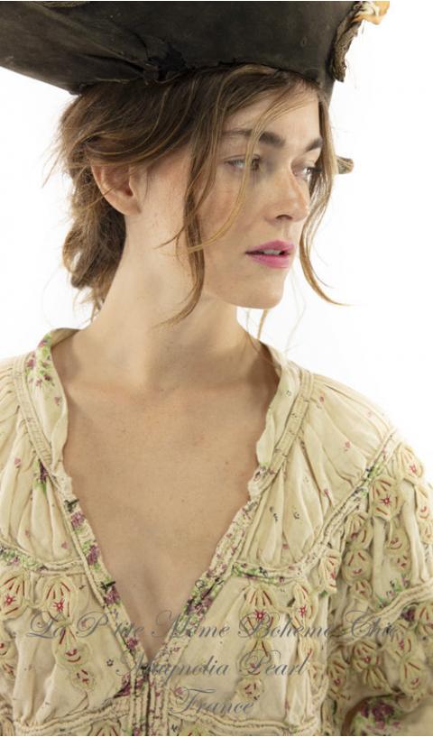 Albertine Opera Coat with Velvet Trim, Embroidered  Applique in Midnight
