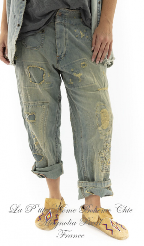 Geordie Pants with Hand Distressing, Patching and Mending In Washed Indigo