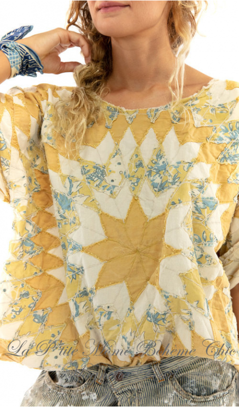 Matilda top with hand destressing, fadding and raw edges in Marisol