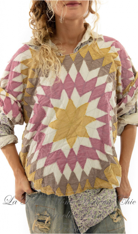 Matilda top In Echo with hand destressing, fadding and raw edges