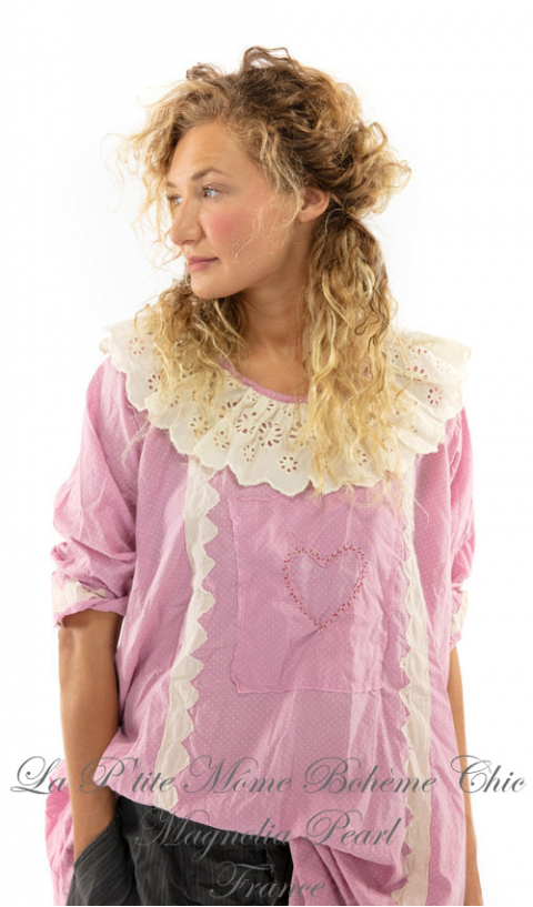 Twill Eudora Dress with Lace Trims In Lollie