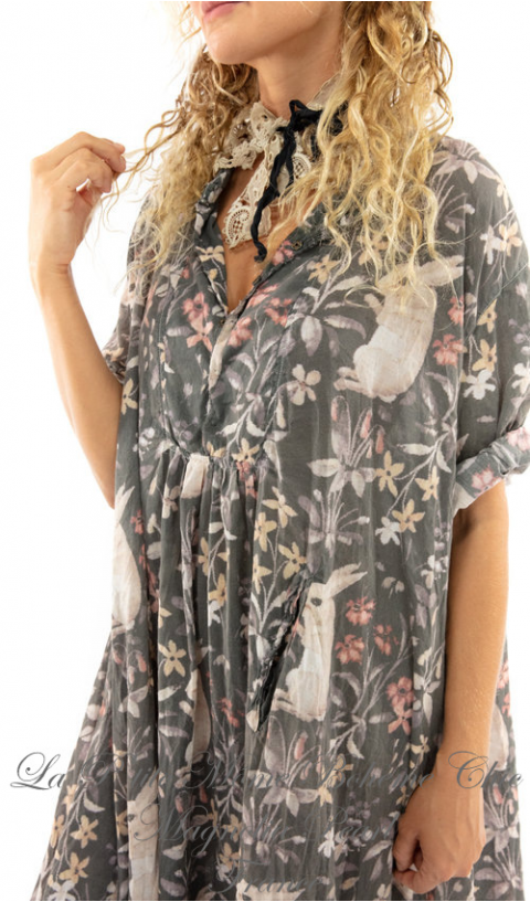 Silke Dress in Dolly with Fading and Distressing, Snaps At Neckline