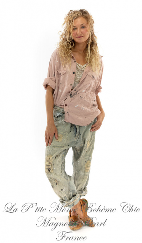 New Miner  Denim Jeans In Railroad With Paint & Hand Aging & Patching