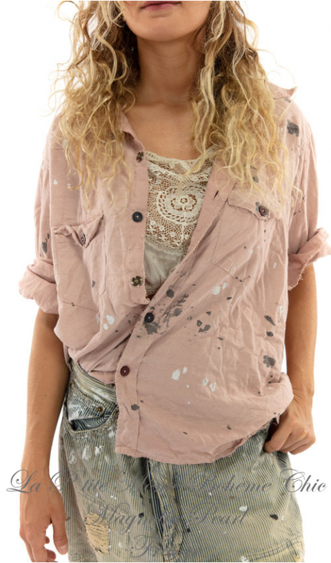 Twill Kelly Western Shirt In Bisou with Embroidery, Print and  Paint