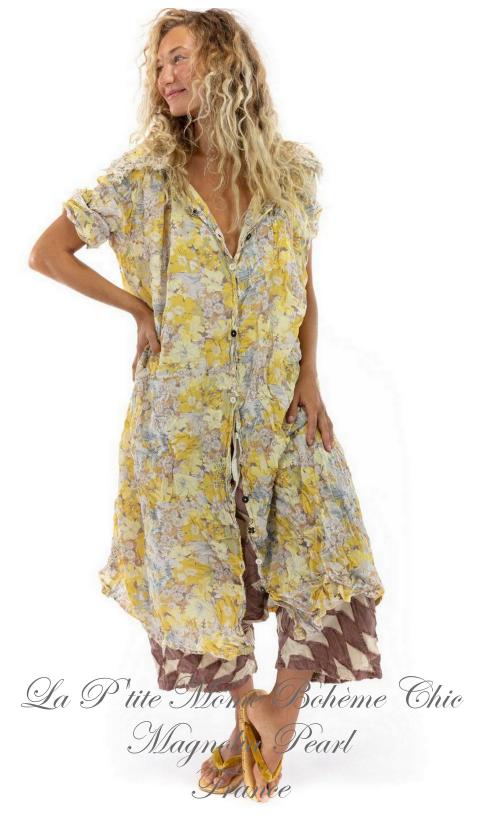 Lila Bell robe chemisier avec dentelle en Banana Bread