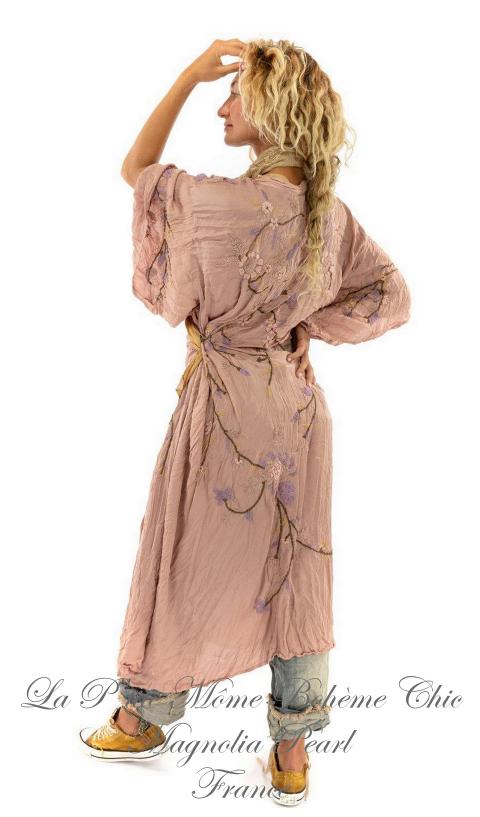 Sinchu Kimono In Bloom, Modal Satin Embroidered