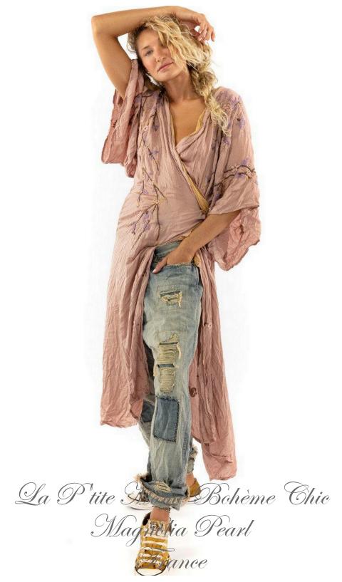Sinchu Kimono En Modal Satiné + Broderies En Bloom