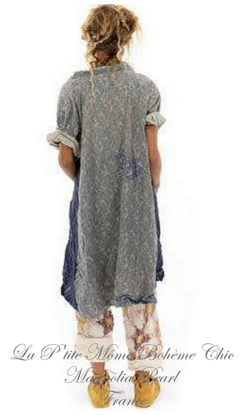 Johanna Smock Dress with Hand Fading & Patching In Foothills