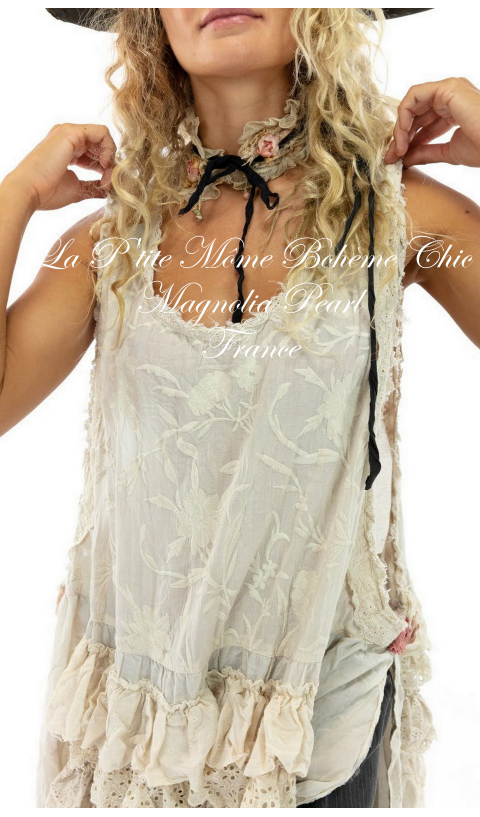 Risette Apron Dress with Open Sides, Ruffle Details, Tattered Lace