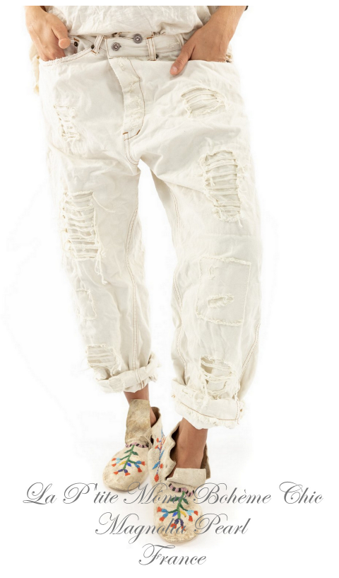 Miner Denim Jeans In Moonlight With Hand Aging and Patching