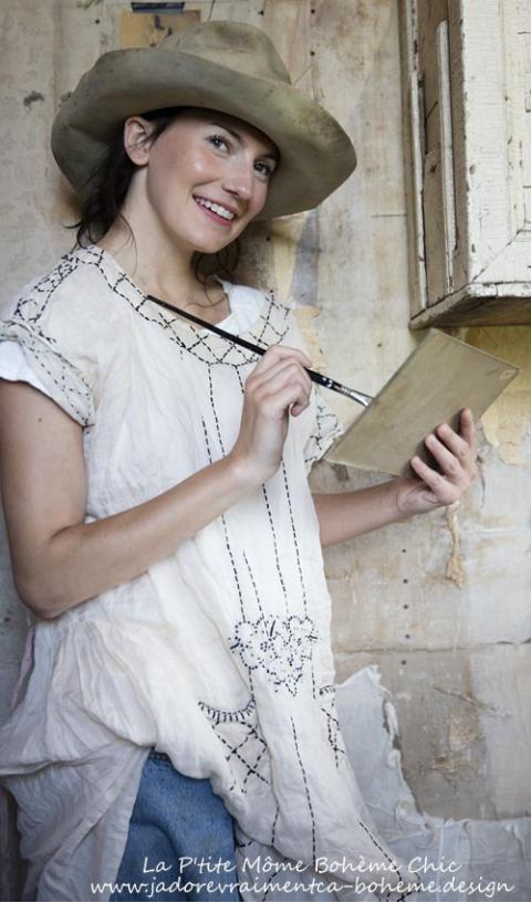 Ramie Camellia Dress with Hand Embroidery