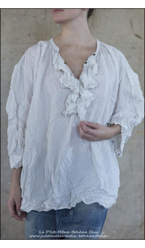 Maestro...Blouse  with Ruffled Collar, Antique Snaps