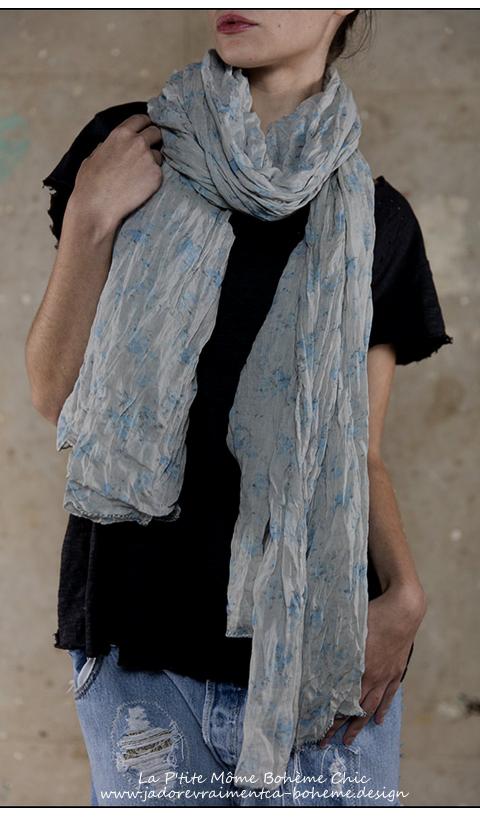Echarpe Polina en Bleu ciel Long en Coton