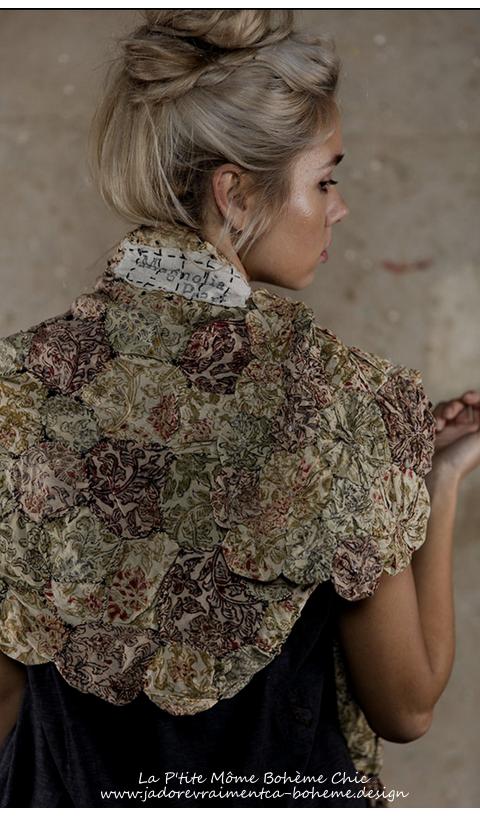 Greta Shawl in Anise Rose Petal double cotton