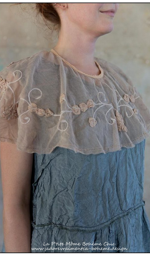 Bernaix Cotton Tulle Neck Chaplet with Silk Coral Rose