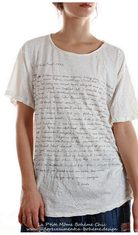 Frida O'Keefe Letter Tee Shirt.....Message De Frida Kahlo