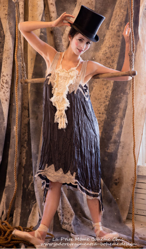 Silk Satin Bexley Slip with Cotton Lace