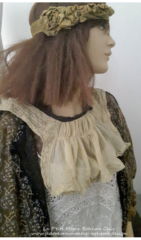 Tulle and Lace Devan Shoulder Drape with Black Silk Ties