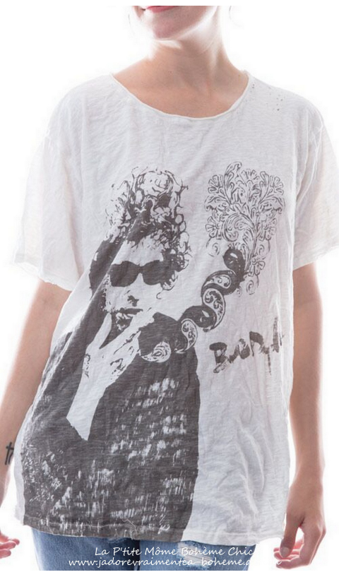 Cotton Bard Tee, With Bob Dylan Sketch, New Boyfriend