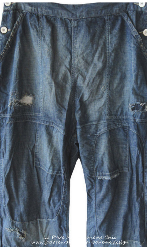 Cotton Denim Dagny's with Hand Age, Distress and Mending