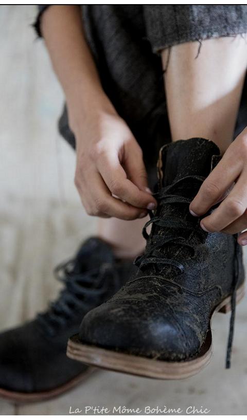 Bojangel Boots en cuir craquelé
