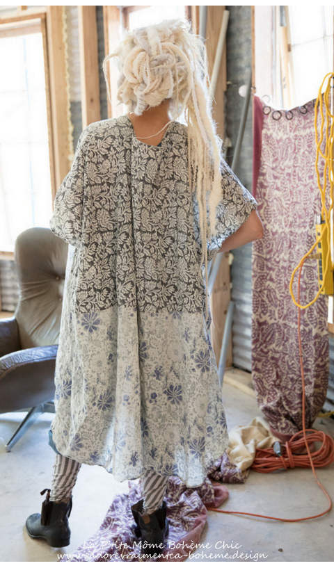 Jaya Kaftan Dress with and Block Print