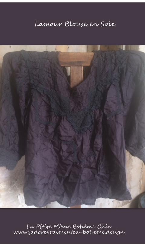 Lamour Blouse with Crochet Laces, Pleats, 3/4 Sleeves & Back Snaps in Harley