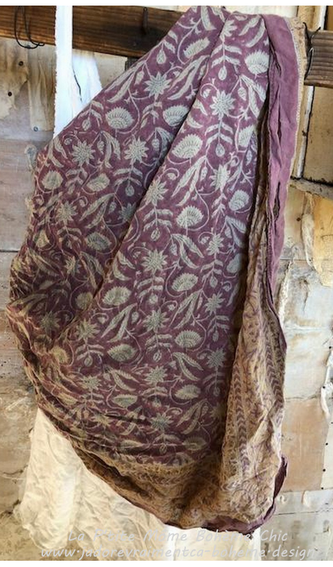 Woven Cotton Madam Mim Hand Blocked Printed Scarf in Henna
