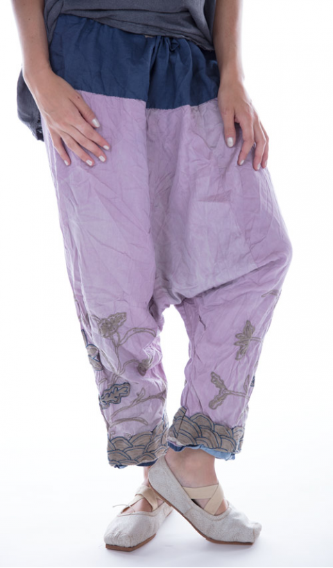 Silk Embroidered Joon Pongee Pant In Lychee-Blossom